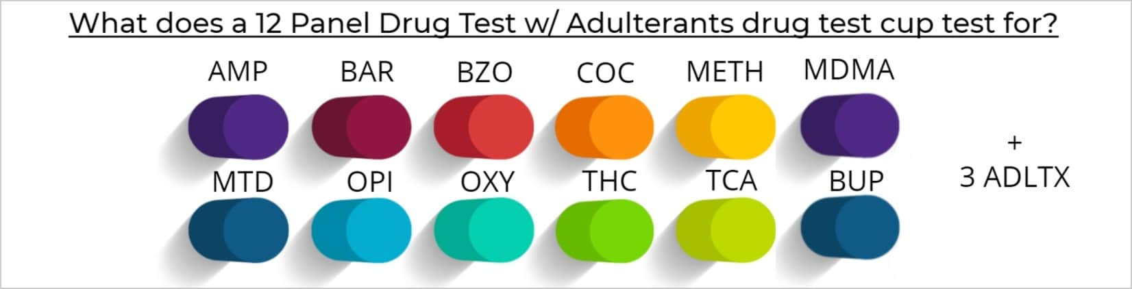 What does a 12 Panel Drug Test w_ Adulterants drug test cup test for