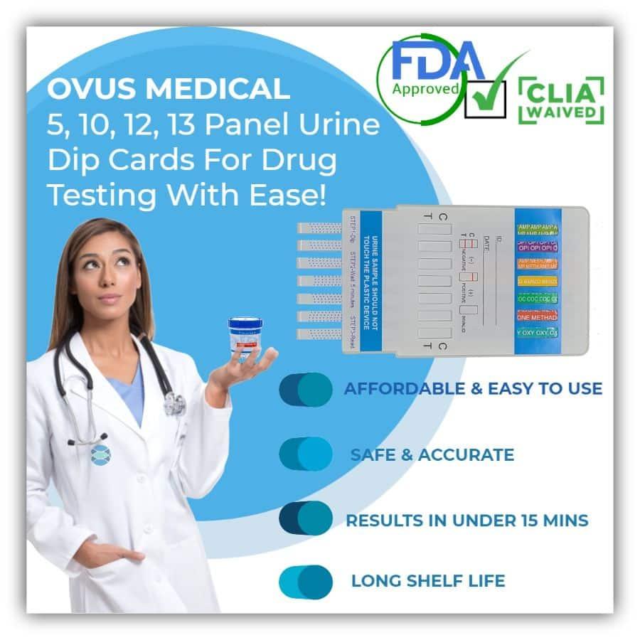 OVUS MEDICAL MULTI-PANEL URINE DIP CARDS